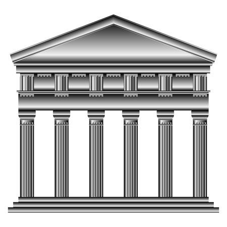 doric: Templo d�rico aisladas sobre fondo blanco.