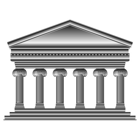 romanesque: Ionic temple isolated on white background.