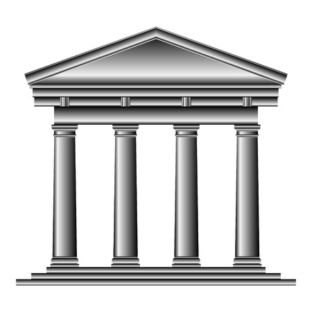 romanesque: Tuscan temple isolated on white background.