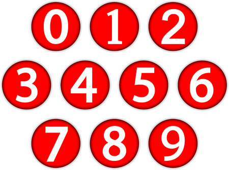Numbers buttons set from on white background  Illustration