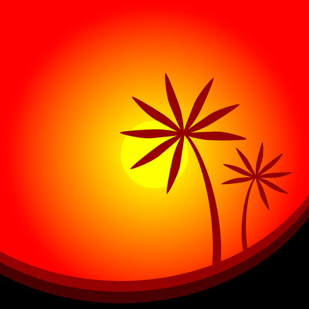 Landscape with palm trees at sunset - vector illustration. Vector