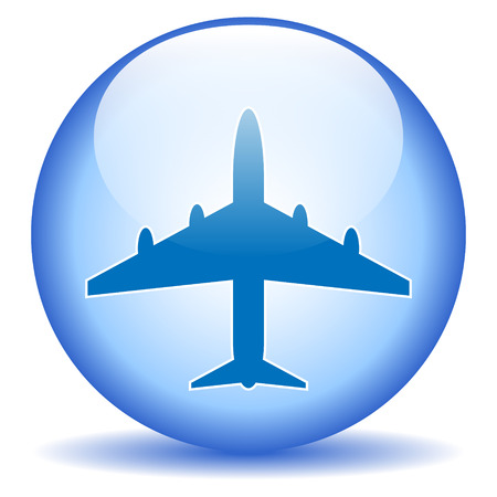 Plane icon on round internet button - vector illustration. Vector