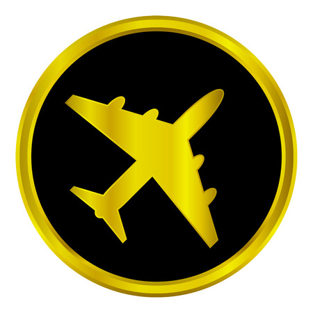 Plane icon on round internet button - vector illustration. Illustration