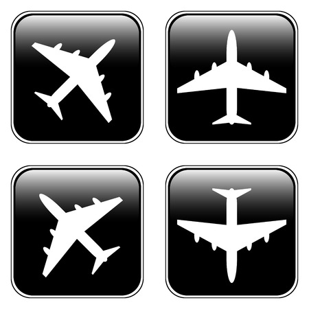 Airplane square buttons set on white - vector illustration. Vector