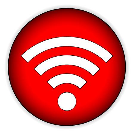 icono wifi: WiFi bot�n con el icono en el fondo blanco - ilustraci�n vectorial.