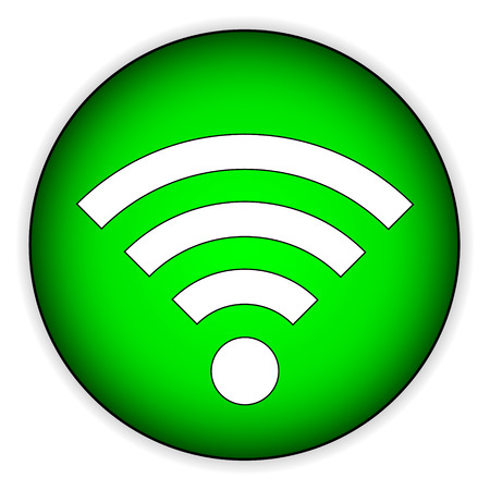 access point: Wifi icon button on white background - vector illustration.