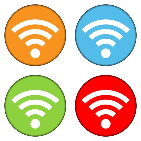 icono wifi: Wifi icono conjunto de botones en el fondo blanco - ilustraci�n vectorial. Vectores
