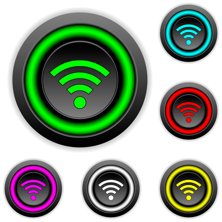 access point: Wifi icon buttons set on white background - vector illustration.
