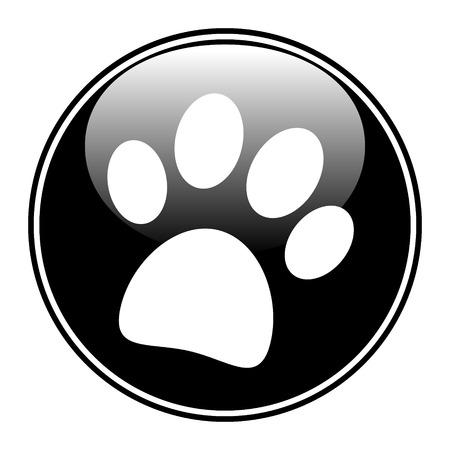 Paw button on white background - vector illustration. Illustration