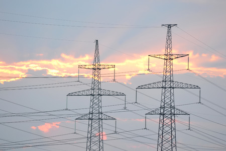 outskirts: Power line at sunset, outskirts of St. Petersburg, Russia.