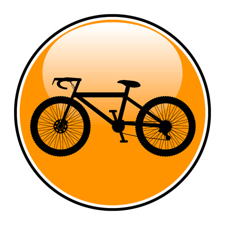 Bicycle icon on round internet button on white background - vector illustration. Vector
