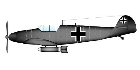 ww2: German WW2 fighter Messerschmitt Bf.109G on white background - vector illustration.