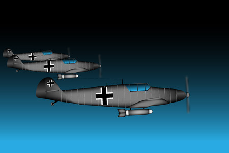 wartime: Link fighter-bomber of World War II at night  illustration.