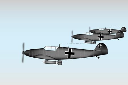 wartime: Link fighter-bomber of World War II at sky - vector illustration.