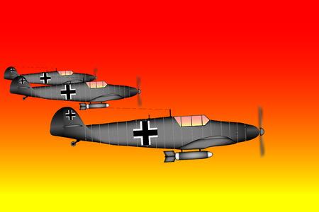 world war ii: Link fighter-bomber of World War II at sunset  illustration.