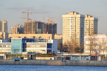 St.Petersburg, Russia - April 22, 2014: October Embankment and Neva River in St.Petersburg.