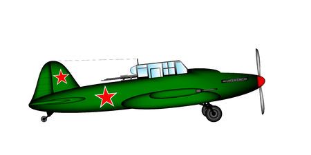 Russian historic tactical plane Ilyushin Il-2 from World War II  illustration. Vector