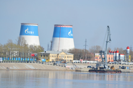 St.Petersburg, Russia - April 26, 2014: Industrial outskirts and Neva River embankment. Thermal power plant.