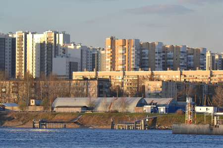 October Embankment and Neva River in St.Petersburg, Russia.