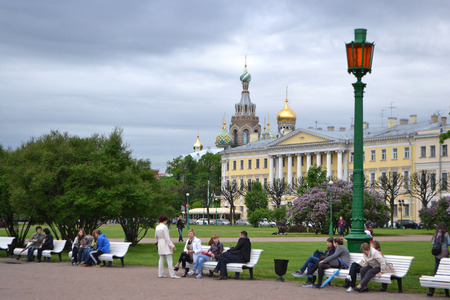 campus tour: St.Petersburg, Russia - May 26, 2013: Field of Mars in downtown St. Petersburg. Editorial