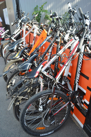 St.Petersburg, Russia - July 14, 2013: Parked bikes. Festival For Velogorod (For Cycling City) in New Holland.