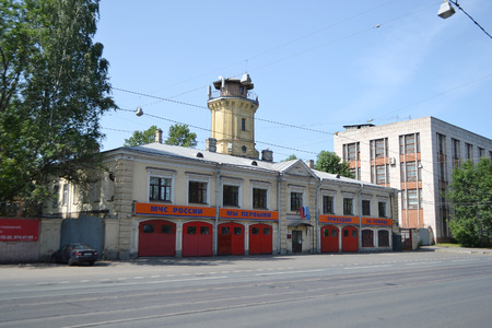 sidewall: St.Petersburg, Russia - July 14, 2013: Old fire station with red gates.