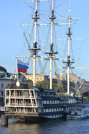 St.Petersburg, Russia - August 29, 2013: Old frigate on the waterfront of the Neva River, St.Petersburg, Russia