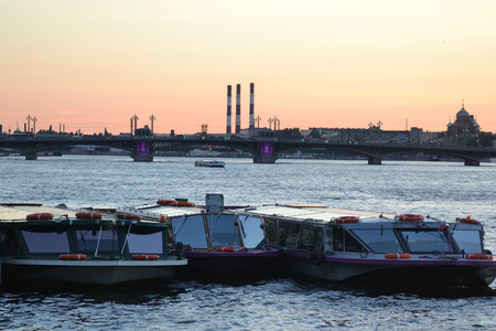 Pleasure boat on the river Neva at summer evening, St.Petersburg, Russia. photo