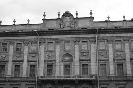 marble palace: Marble Palace in St.Petersburg, Russia. Black and white.