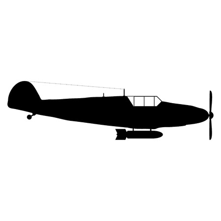 Old military aircraft icon on white background - vector illustration. Vector