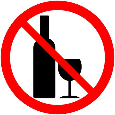 No alcohol sign on white background. Ilustrace