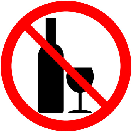 glasse: No alcohol sign on white background. Illustration