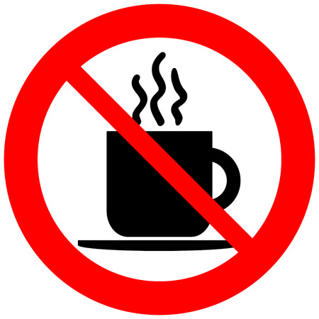 No coffee cup sign on white background.