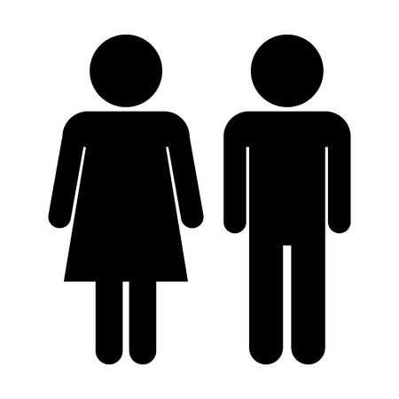 genders: Male and Female icons on white background. Illustration