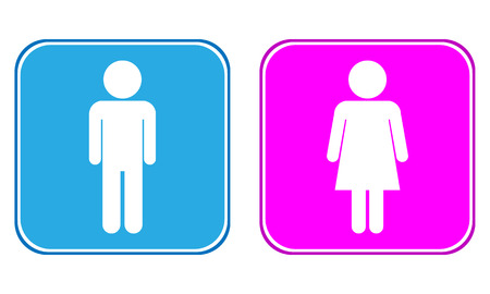 genders: Male and Female buttons on white background.