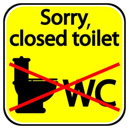 Zamknięty znak WC na białym tle.