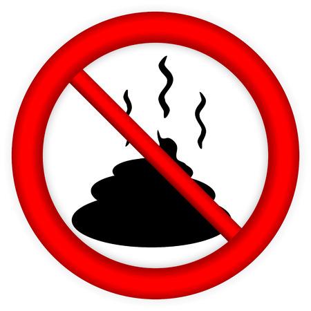 feces: No shit sign on white background. Illustration