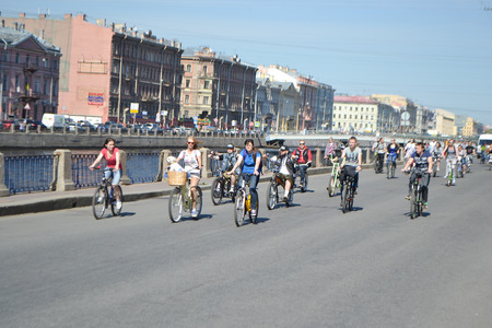 St Petersburg, Russia - May 17, 2014  Bike Ride  For bikeways   Cycle race on street in center of St Petersburg