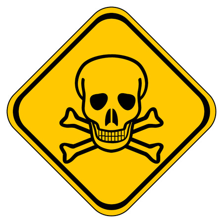 terribly: Deadly danger sign on white background.