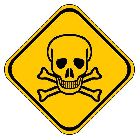 mortale: Deadly pericolo segno su sfondo bianco.