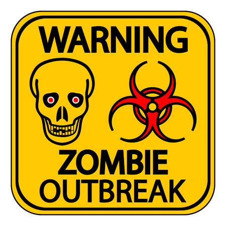 Road sign warning zombie outbreak on white background. Vector