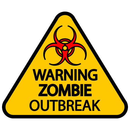 Road sign warning zombie outbreak on white background.