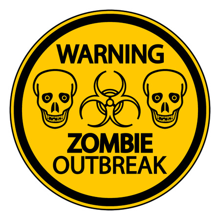 surviving: Road sign warning zombie outbreak on white background.