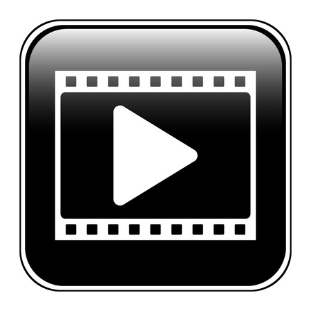 Film strip with play icon on white background. Vector