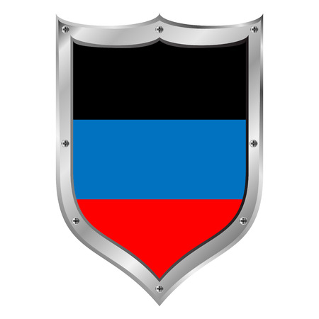 oblast: Shield with flag of Donetsk Peoples Republic. Illustration