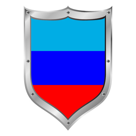 Shield with flag of Lugansk Peoples Republic. Vector