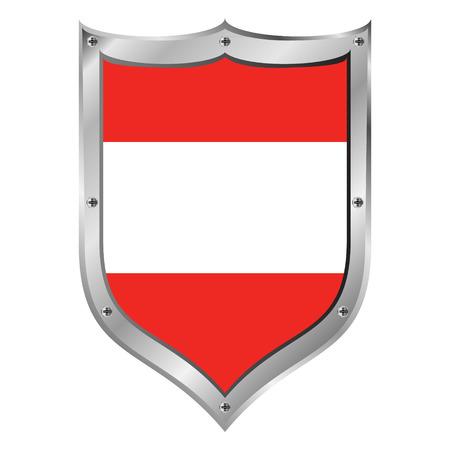 Austria flag button on a white background. Vector illustration. Vector