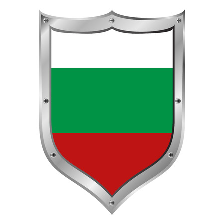 Bulgaria flag button on a white background illustration. Vector