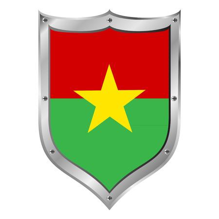 burkina faso: Burkina Faso flag button on a white background illustration.