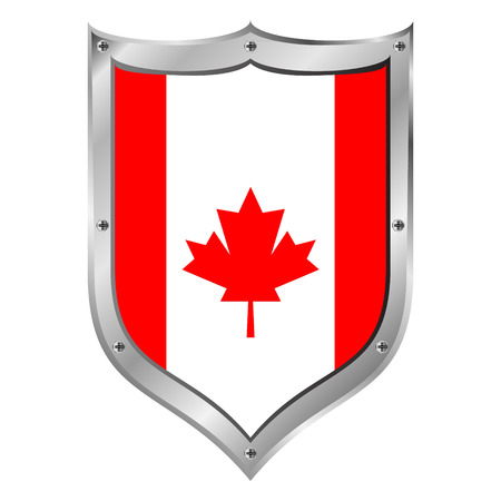 Canada flag button on a white background illustration. Vector